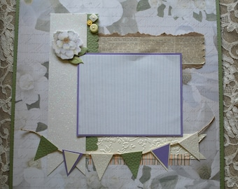 12 x 12 scrapbook page. Pre-made scrapbook page, purple and green, banner
