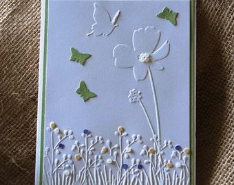 Handmade Greeting Card: Flower Garden, Butterflies, Embossed