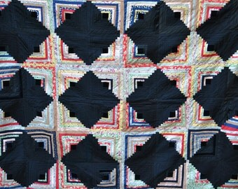 Antique Handmade Log Cabin Quilt Blanket Quilting Squares Antique Quilt Black Red White Purple Quilts