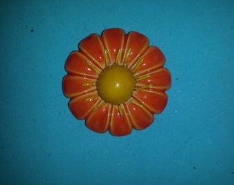 Vintage Original by Robert Orange Flower Pin Rare Large Size