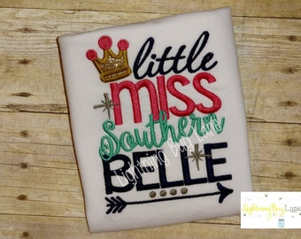 Little Miss Southern Belle shirt Girls Pageant outfit Girls Beauty pageant shirt Girls clothing Beauty Pageant Birthday outfit for toddler