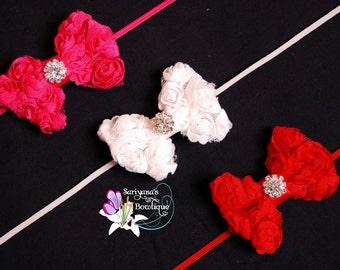 Red White Hot Pink Chiffon Rose Bow Rhinestone Skinny Headband, Baby Headband, Flower Girl, Vintage - SB-057