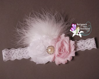 Light Pink White Shabby Flower Pearl Rhinestone Feather Headband, Vintage Headband, Newborn Headband, Flower Girl, Wedding, - SB-005a