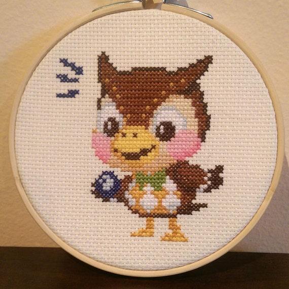 Animal crossing framed blathers cross stitch