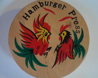 Vintage wood hamburger press with painted chickens hamburger mold chicken hamburger press