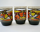 Monarch Butterfly Swanky Swigs, Set of 3, Smokey Brown Orange Yellow Drinking Glasses, Smoked Glass Tumblers, Vintage Collectible Glasses