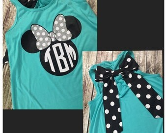 Minnie Mouse Racerback Monogrammed Tank - Vinyl - WITH BOW - Disney Monogram Tank - Disney Shirt