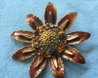 MJ ENT Rhinestone Enamel Flower Pin/Brooch