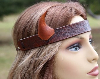 leather horned head piece