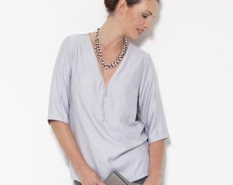 ON SALE, Gray Shirt, Oversized Blouse, Viscose Blouse, Ladies Clothing, Summer Blouse, V neck Shirt, Oversized Shirt, Grey Shirt, Grey Top