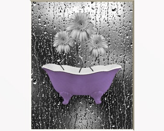 Purple Gray Bathroom/Bedroom Floral Wall Art Photography Home Decor Matted Picture