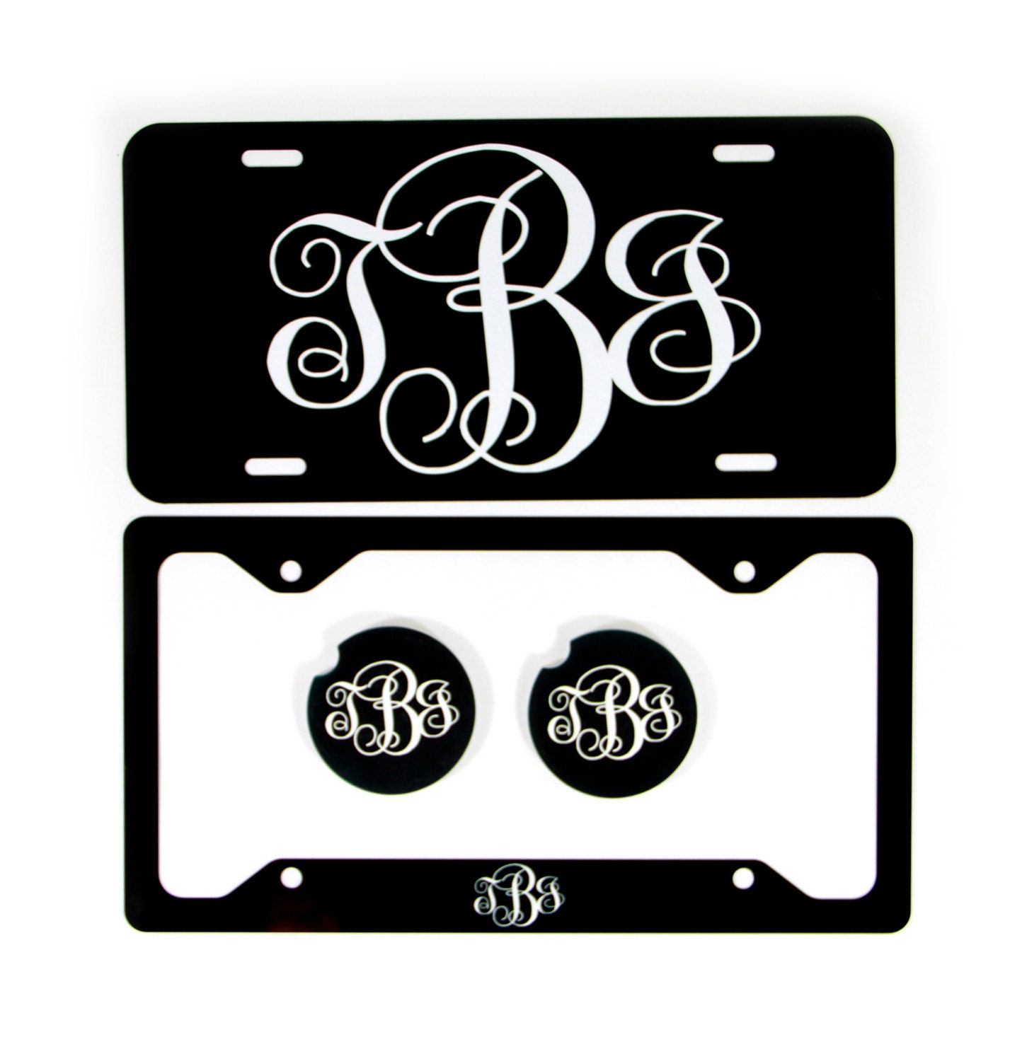Classy Black And White Monogram Front License Plate