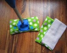 Reusable mop/duster sets in green polka dot