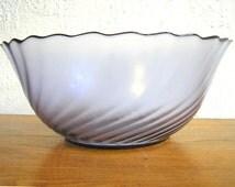 Vintage Arcoroc glass serving bowl scalloped edge swirling pattern violet purple smoked glass Rosaline pattern 1980s decorative bowl
