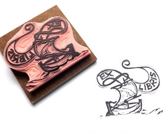 Viking Ship Ex Libris Boat Rubber Stamp Bookplate Stamp Hand Carved