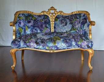 French Settee Sofa Loveseat Antique Gilded Upholstered