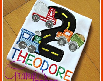 Personalized Car Truck Train Bus Birthday T-Shirt