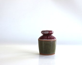 containing color red raspberry green ceramic , handmade