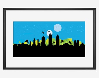 Cincinnati skyline print, Star Wars inspired print, Cincinnati Ohio,Cincinnati art, Cincinnati print, Cincinnati poster, Star Wars x wings