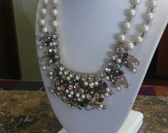 Vintage Hobe Faux Pearl bib necklace! plus matching bracelet!