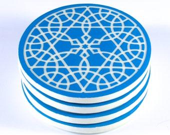 Moroccan Coasters - Ceramic Coasters - Round Coasters - Decorative Tiles - Tile Coasters -Mandala Coasters - Turquoise Coasters