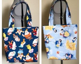 Snow White and the Seven Dwarfs Reversible Tote Bag, Farmer's Market Bag, Library Bag, Beach Bag