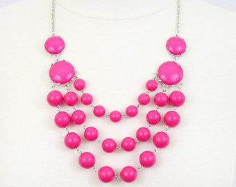 Multi Strand Bubble Necklace  Statement Necklace Bib Necklace Hot Pink Fuchsia Layered Necklace