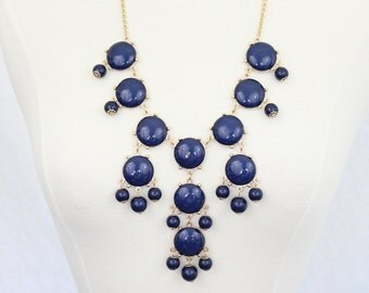 Bubble Necklace Statement Necklace Bib Necklace Navy Blue