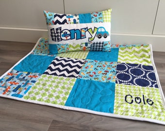 Ready Set Go Cars and Airplanes Baby quilt and pillow set