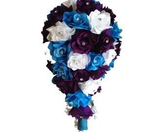 Cascade Wedding Bouquet - Turquoise, Purple, and White Rose Teardrop Bouquet