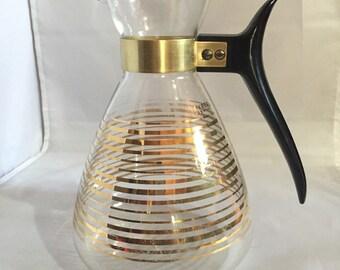 Glass Atomic Age Pyrex Coffee Carafe / Vintage Decantur Tea Pot Mid Century Modern