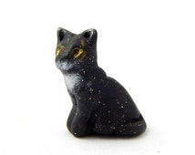Tiny Tuxedo Tom Cat, Miniature Figurine, Black and White Kitten, Polymer Clay, 1/12 scale