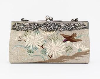 Antique 1910s Floral Tapestry Handbag - Vintage Embroidered Asian Evening Bag