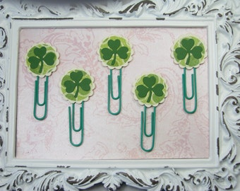 St. Patrick's Day Planner Clips, Irish Stationery, Paperclips, Four Leaf Clover, Lucky, Calendars, St. Patty's Day, Journal Accessories