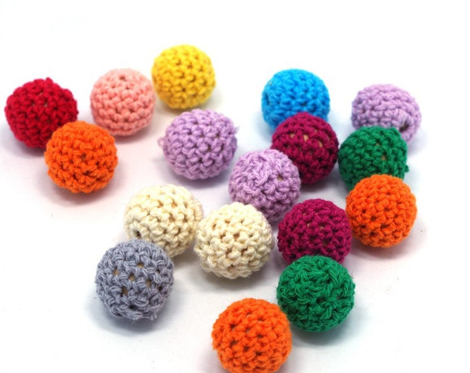 Wholesale Crochet Beads 50pc/lot 16mm Round Mix Colors Ball Knitting