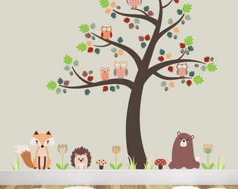 Woodland Nursery Decor, Forest Animals, Fox and Owl Decal, Baby Wall Stickers, Brown Tree Mural. Creatures, bear, hedgehog, Autumn flowers