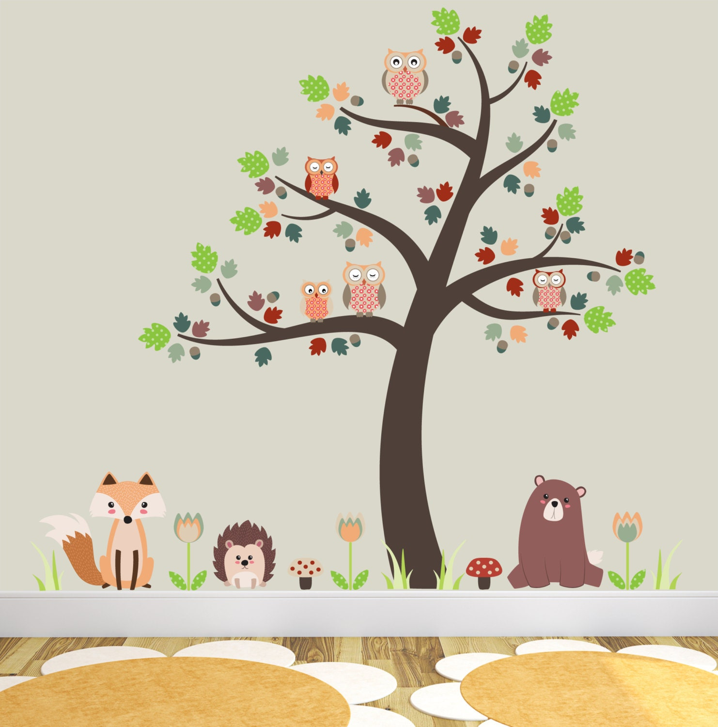 Woodland Nursery Decor Forest Animals Fox And Owl Decal