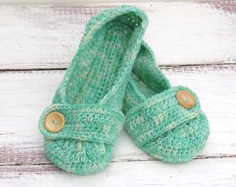 Hand Dyed Crochet House Slippers Mint Green Wool with Buttons Tab for Women Size 9