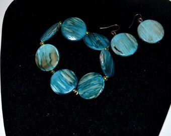 Polished Agate Strech Bracelet and Earring Set