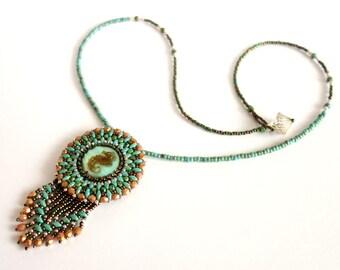 Pearl Necklace turquoise pendant seahorse sea horse
