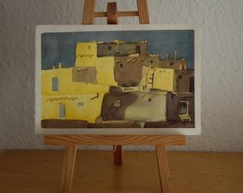 Part View of Taos Pueblo, Small Watercolor Original, Native American Dwelling