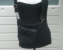 Black Denim 3-way Crossbody bag Cross Body Shoulderbag Recycled jeans pocket