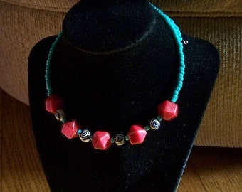 Turquoise & Red Choker Style Necklace