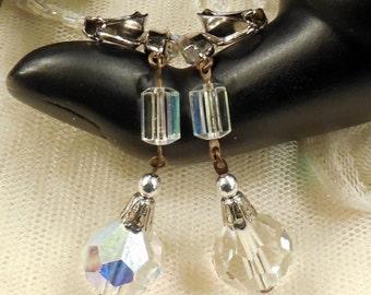 Vintage AB Rhinstone and AB Crystal Bead Dangle Earrings