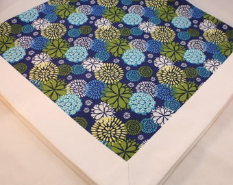 Table Topper, Tablecloth -- Blue, Yellow, Green and White Floral -- Table Runner