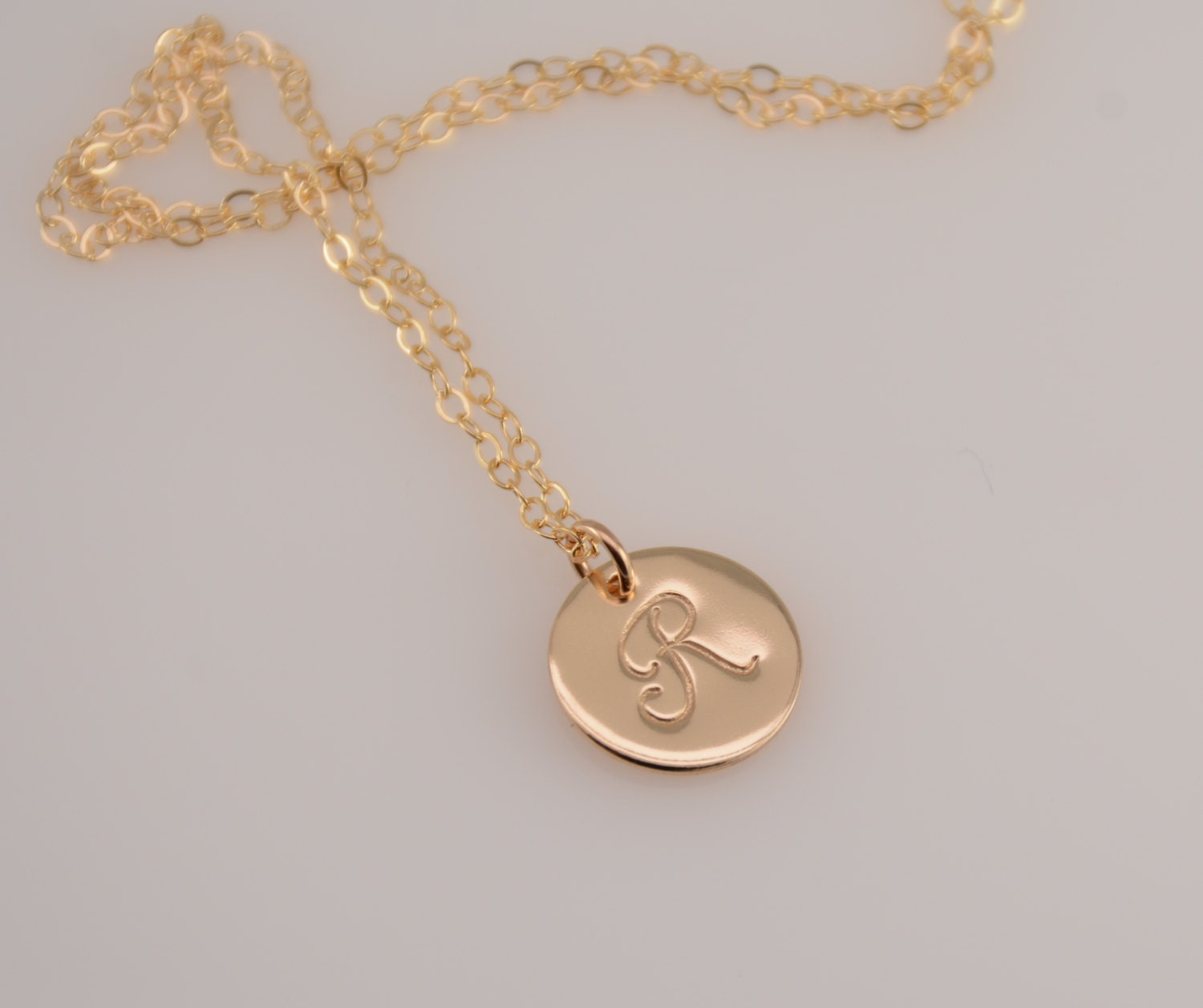 gold disc necklace gold filled initial necklace layered