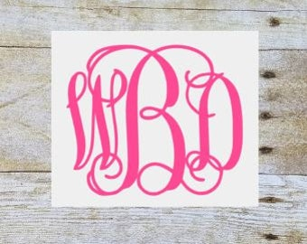 Vinyl monogram decal, monogram sticker, car decal, monogram, vinyl decal, yeti decal, vinyl monogram, laptop decal, vine monogram