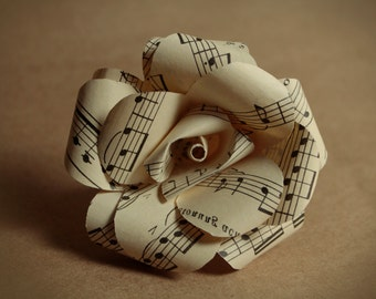 """individual 2"""" sheet music paper roses - flowers made from upcycled recycled vintage books"""