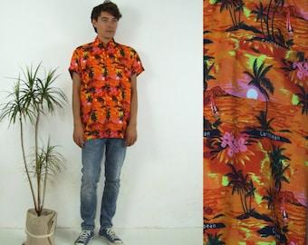 90's vintage men's orange Caribbean beach printed shirt