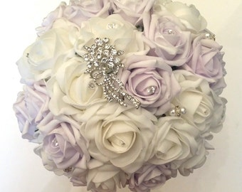 Lilac and Ivory flower and brooch bouquet